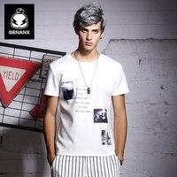 GENANX Brand Men'S Fashion T-Shirt Short English Students Personality Images Printed T-Shirts Male SIZE M-XXL