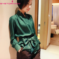 Women lantern sleeve V neck bow belt 100% silk blouse summer casual work solid color office OL shirt top blusa femme s 2xl E6083