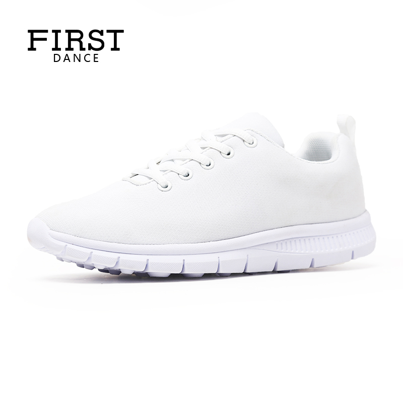 FIRST DANCE Flat Fashion Classic White Shoes For Women Casual Walking Ladies Shoes Breathable Custom Printed