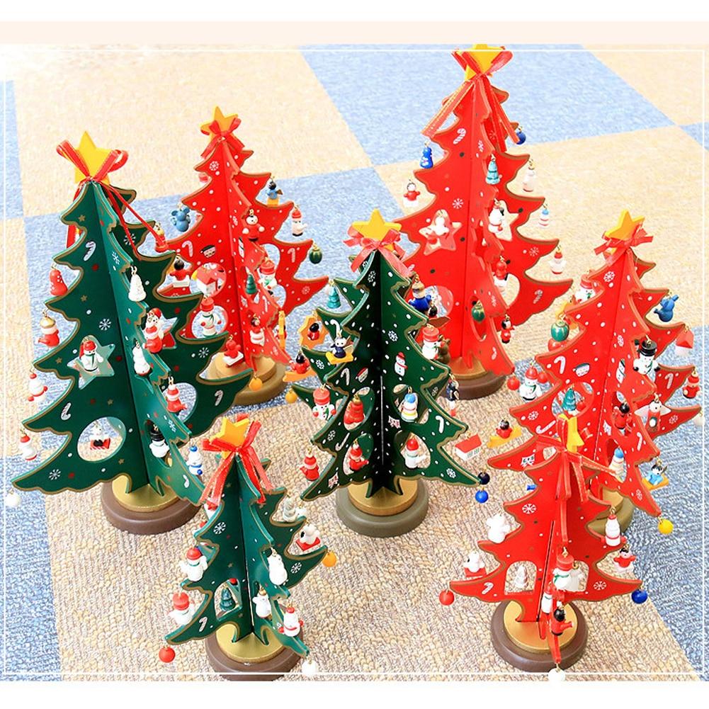 3D DIY Cartoon Wooden Christmas Tree Decoration Xmas Gift