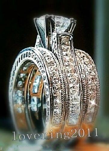 Choucong Fidanzamento Princess cut 6mm Pietra 5A Zircone pietra 14KT White Gold Filled 3 Wedding Band Ring Sz 5-11 regalo