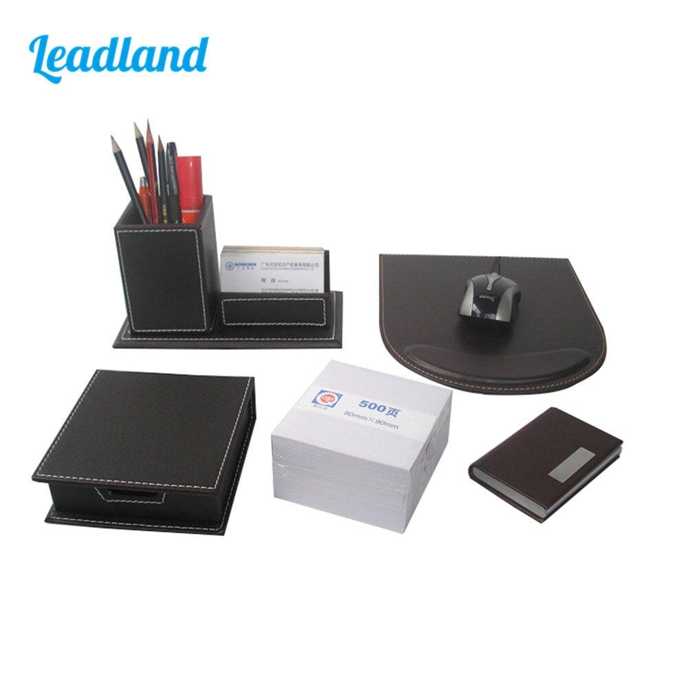Mode 5 pièces moderne PU cuir fournitures de bureau ensembles de bureau porte-stylo carte boîte mémo boîte Note papier tapis de souris ensembles de bureau brun T47