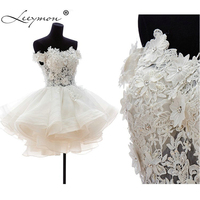 KW8 High Quality Ball Gown Puffy Embroidery Lace Krikor Jabotian Wedding Dress 2014 Short Mini Beaded