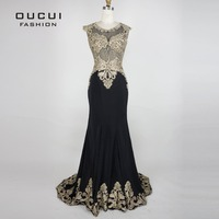 Real Photo Gold Embroider Black Color Formal Long Evening Dresses Fashion OL102809 Robe De Soiree