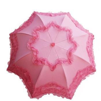 Couleur Rose Chaud Série Pluie Parapluie Sud-coréen Princesse Arqué Soleil Parasol Dentelle Noir En Plastique UV Protection Solaire Parasol