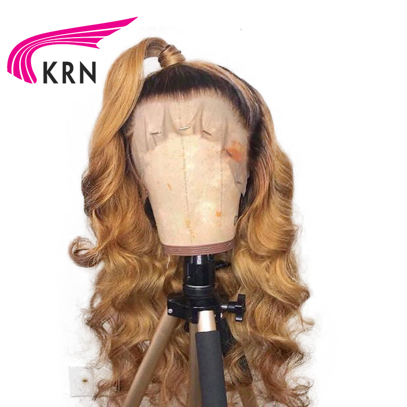 KRN Ombre Pre Plucked Lace Front Human Hair Wigs With Baby Hair Free Part Remy Wavy  Glueless Brazilian Lace Front Wig For Women