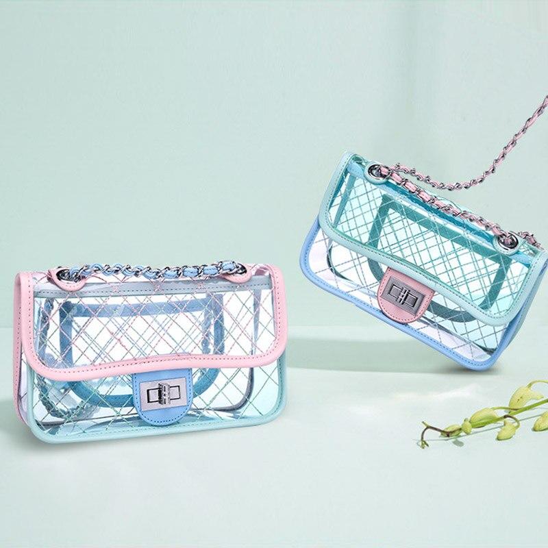 OUFENLANDI 2018 Classic clutch Messenger Bags Small Chain Shoulder Flap bag Exquisite Transparent Bag Stylish Crossbody bags
