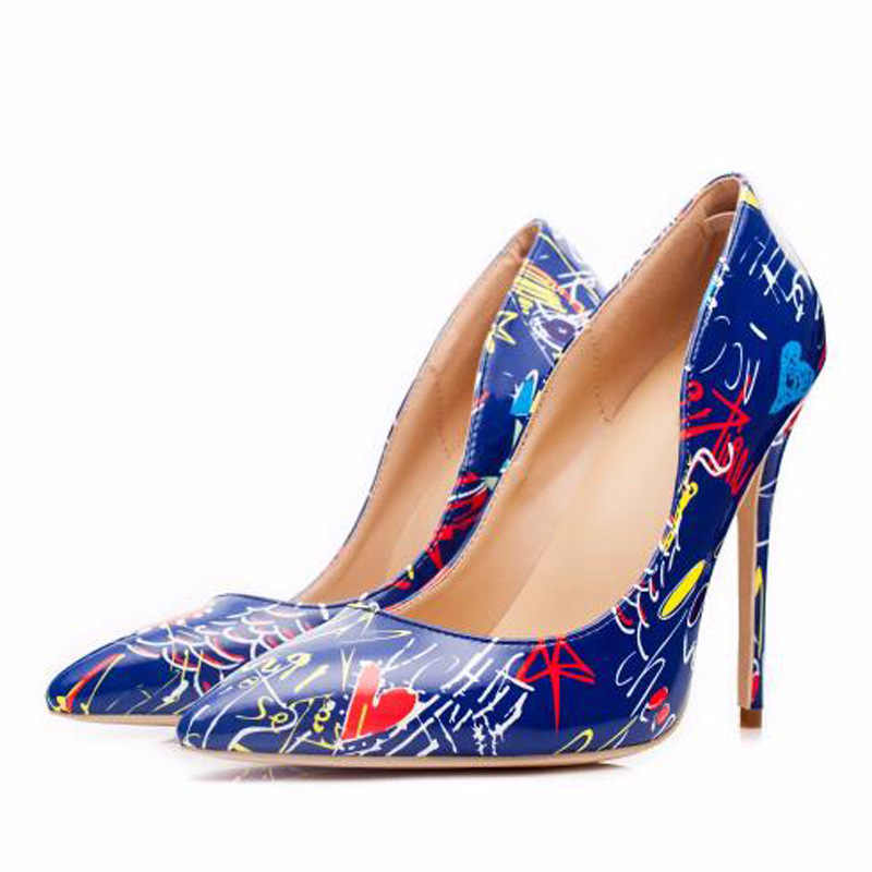 Новинка 2109 года; яркие женские туфли-лодочки с граффити; пикантные туфли на высоком каблуке-шпильке; Весенние Свадебные вечерние женские туфли; sapato feminino; SZ039