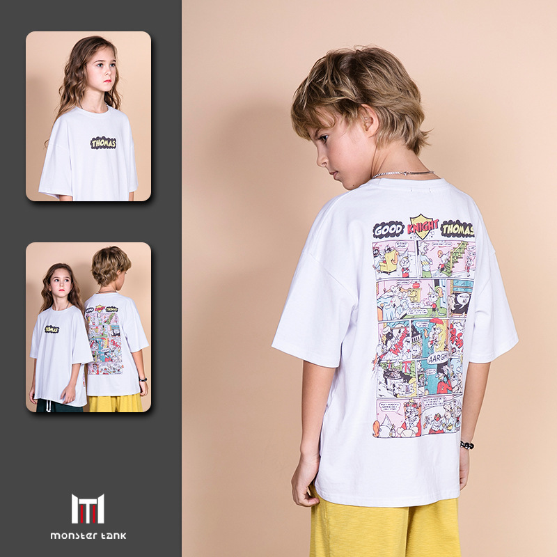 Boys T-Shirt Tops Short-Sleeve Teenagers Environmental Fashion Cartoon Summer Unisex