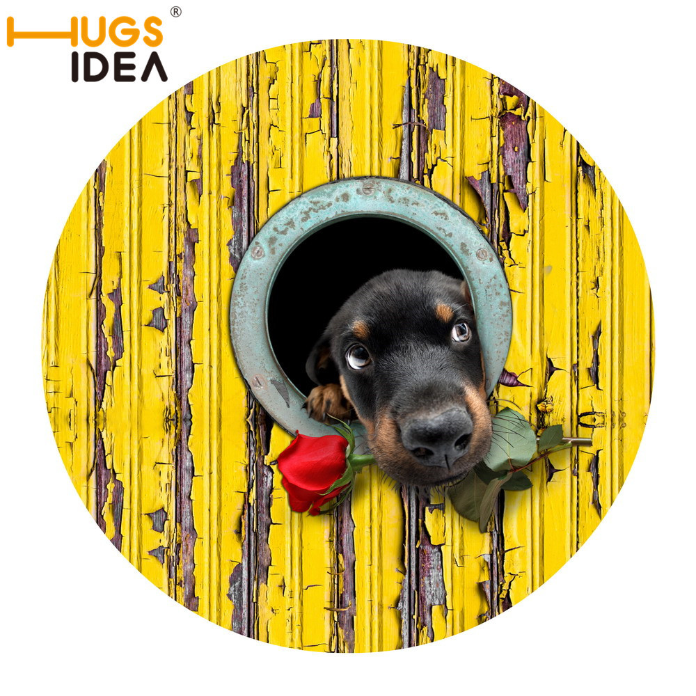 Rubber floor mats for dogs - R60cm Non Slip 3d Printed Doormats Lovely Rose Dog Round Printing Rubber Door Mat For