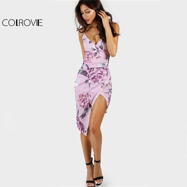 COLROVIE Floral Slip Club Dress Ruched Bodycon Women Asymmetrical Overlap  Summer Dresses Lavender Sexy Beach Party Dress c9b2bf377