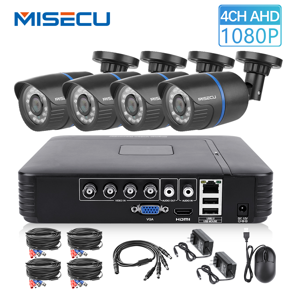 MISECU 4CH 5 in 1 DVR AHD Video Surveillance System 720P 1080P AHD Camera Outdoor Waterproof