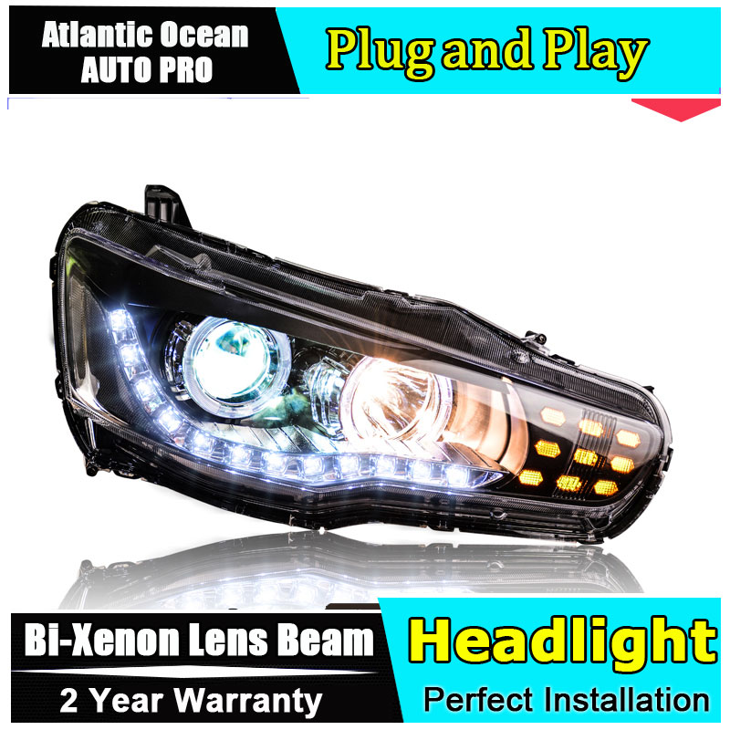 car styling For Mitsubishi LANCER headlights angel eyes 2012 For LANCER Bi-xenon Double lens HID KIT car styling for vw jetta headlights u angel eyes 2012 2017 for sagitar bi xenon double lens hid