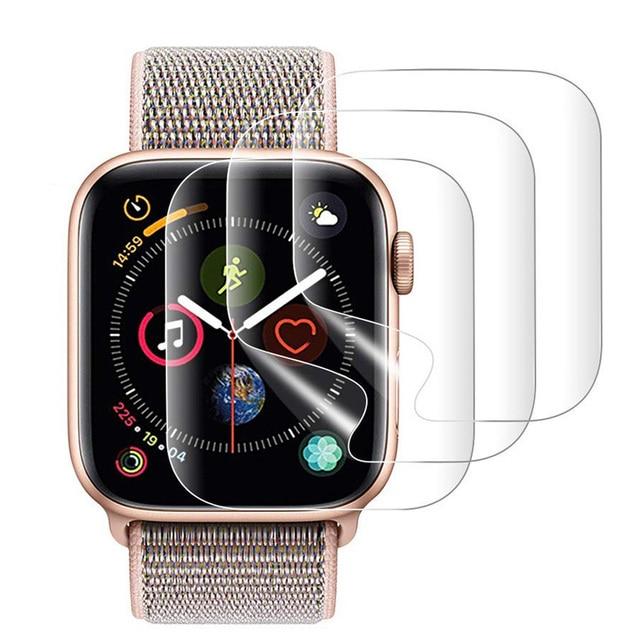 2PCS 9D מלא מעוגל רך מזג זכוכית עבור Apple שעון 38 40 42 44 mm מסך מגן על אני שעון 4 5 מגן זכוכית סרט