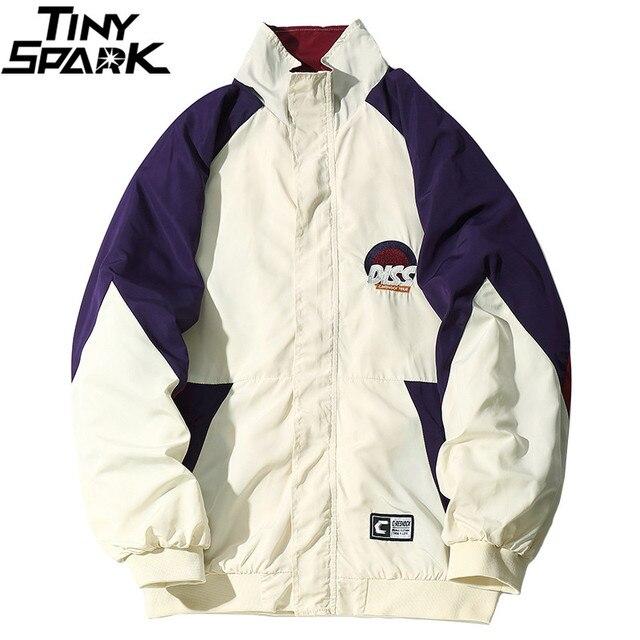 Mens Hip Hop Jacket Coat Funny Diss Embroidery Track Jacket Windbreaker Color Block Retro Vintage Streetwear Casual 2018 Autumn