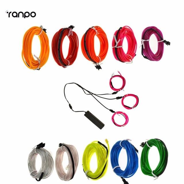5 pcs/sets 3 x 1M EL Wire 10 Colors Neon Rope LED Light Glow String ...