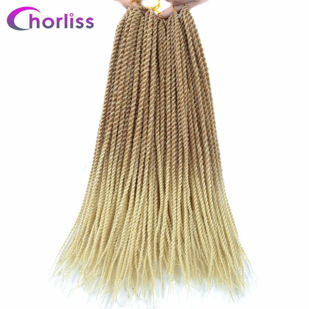 "Chorliss Senegalese Twist Crochet Braid Hair Extensions Ombre Synthetic Braiding Twist Hair for Women Children 18""30Strands/Pack"