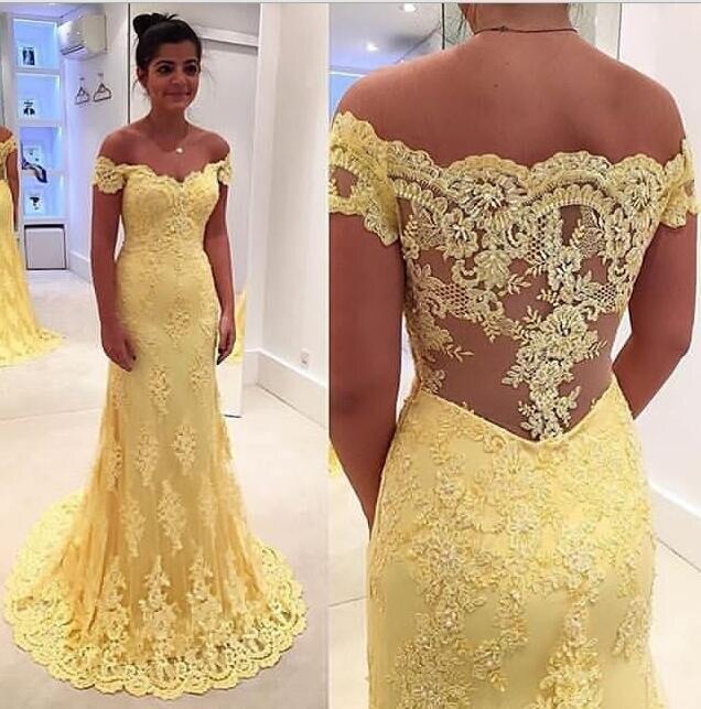2018 jaune longue dentelle sirène robes de soirée sans manches hors de l'épaule filles robes de bal robes de soirée sur mesure