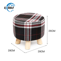 28x26cm Round Taboret Stool Wooden Bedroom Dining Furniture Shoe Rack Footstool Soft Pouf Beach Ottoman Makeup Chair (4 legs)