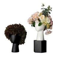 Original Europe Head Shape Glass Vase WIG Ceramic For Wedding Home Decor Living Room Decoration Porcelain