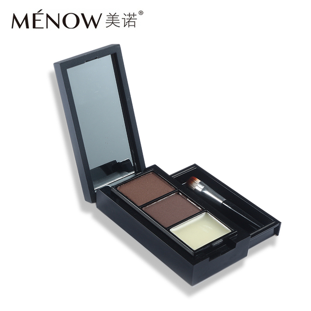 Menow Professional Eye Brow Makeup 2 Color Eyebrow Powder + Eyebrow Wax Palette Contour Bronzer Shadow with Brush Cosmetics Kit 1