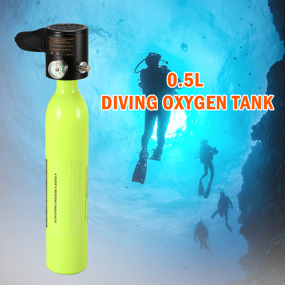 0.5L Scuba Oxygen Cylinder Diving Air Tank Scuba Regulator Diving Respirator with Gauge Snorkeling Breathing Equipment0.5L Scuba Oxygen Cylinder Diving Air Tank Scuba Regulator Diving Respirator with Gauge Snorkeling Breathing Equipment