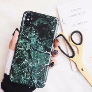 Image 1 - 30PCS Luxury Marble Granite Stone Cover For iPhone XS Plus Cute Soft TPU Case For iPhone XS MAX Case Silicon Case Capa