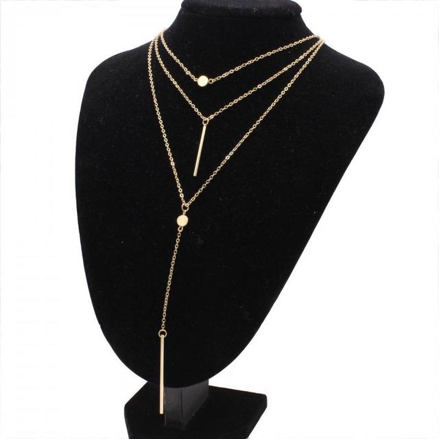 ec9f91933a Summer Gold Color Necklaces For Women Multi Layer Necklace & Pendants  Tassel Charm Bar Statement Necklace Boho Jewelry Gift