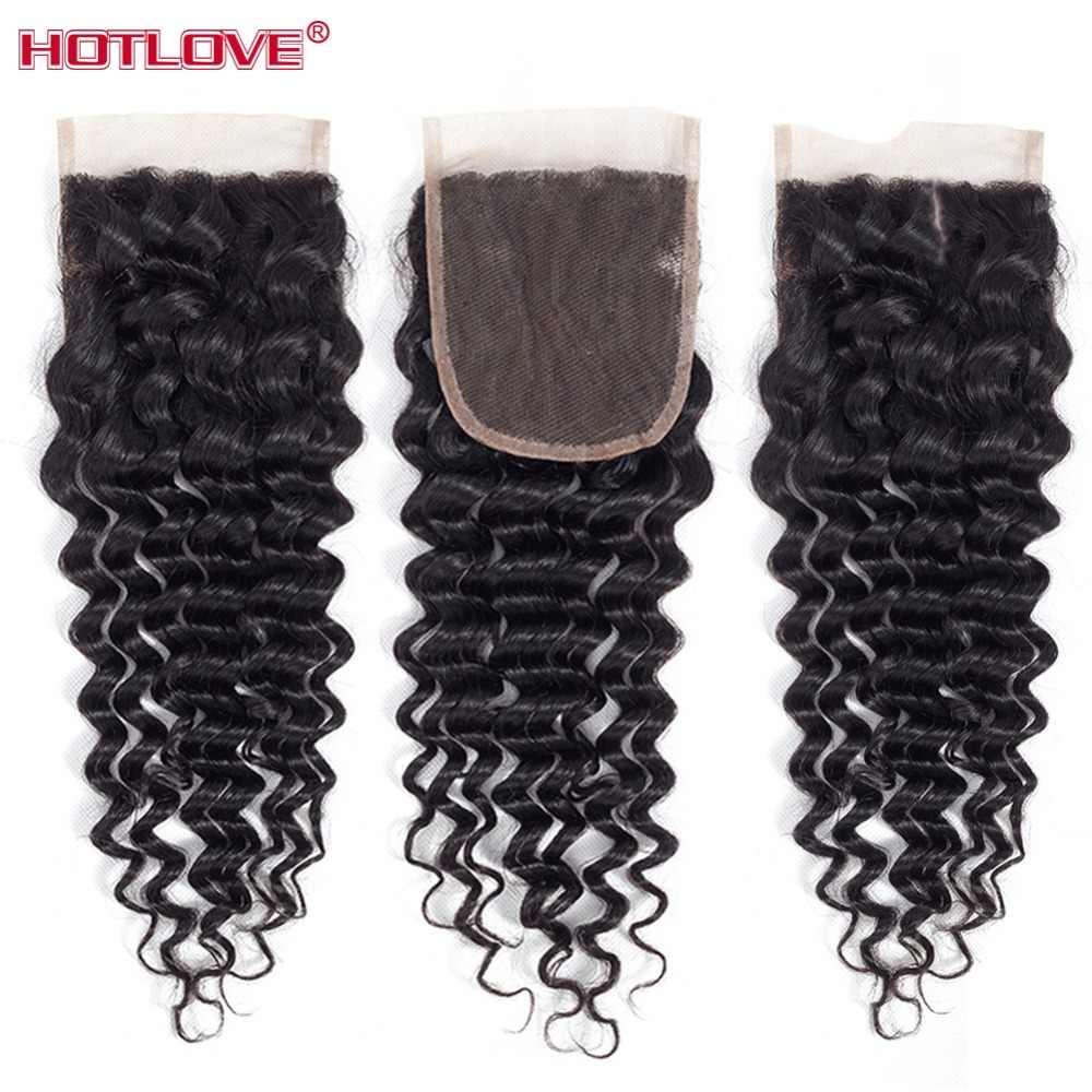 Hotlove włosy luźne głęboka fala wiązki z bez zapięć bliski 3 część 4*4 peruwiański włosy wyplata pakiet z zamknięciem Remy włosy