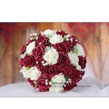 ブルゴーニュ&ホワイト手作りの花装飾人工ローズ花真珠花嫁ブライダルレースアクセントウェディングブーケ