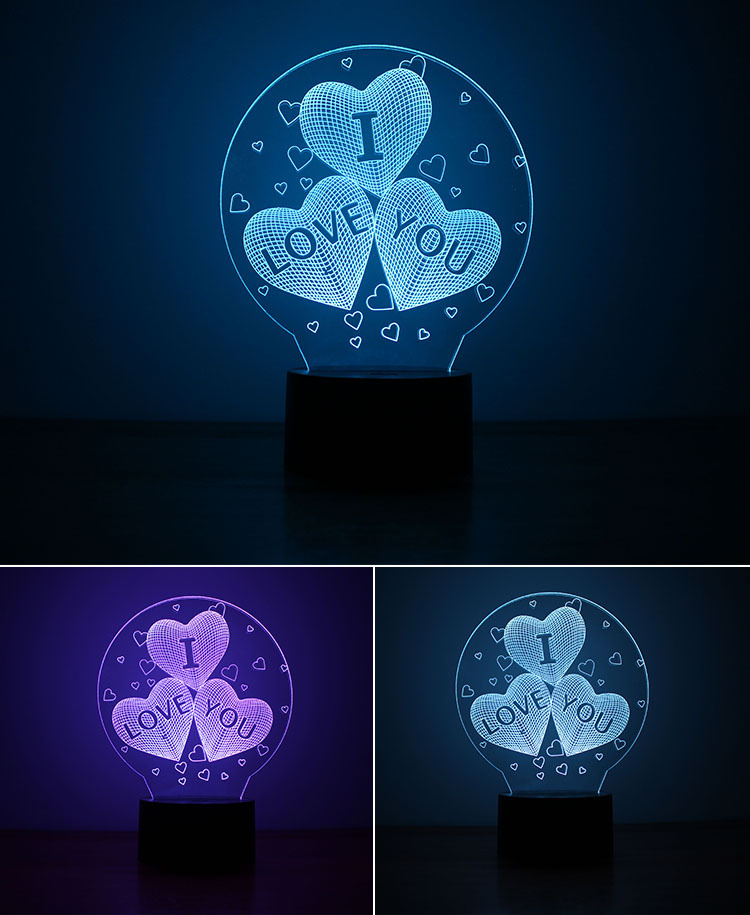 3D Balloons Heart Shape LED Night Light I Love You Romantic Atmosphere Lamp Home Decor Gadget Nightlight Lovers Gift i love you heart shape led 3d night