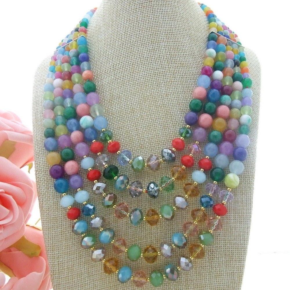 N010611 collier en cristal multicolore de 18 ''-24'' 5 brins