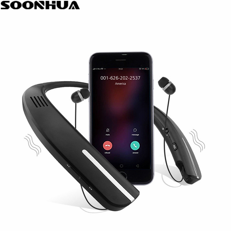 SOONHUA 2-In-1 Bluetooth Earphone Sports Stereo Neckband Headphones With Wireless Speaker Function Dual-Mic Headset For Phone wireless headphones bluetooth headset sport running magnetic stereo neckband earphone with mic csr 4 1 for phone iphone samsung