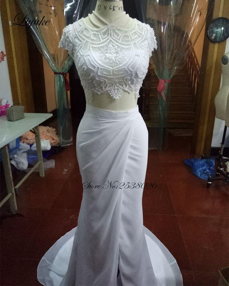 Elegant Satin High Neckline Sweep train Sheath Wedding With Pearls Illusion Buttons On Back Sleeveless Bride Dresses