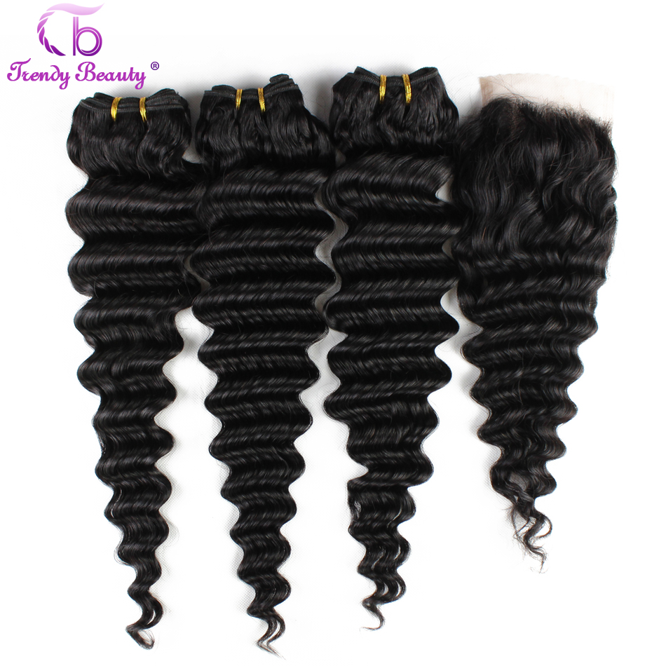 Trendy Beauty Brazilian Deep Wave Hair Top Human Hair Bundles With Closure Color #1b 4x4 Inches Closure 8-28 Inches  Non-Remy