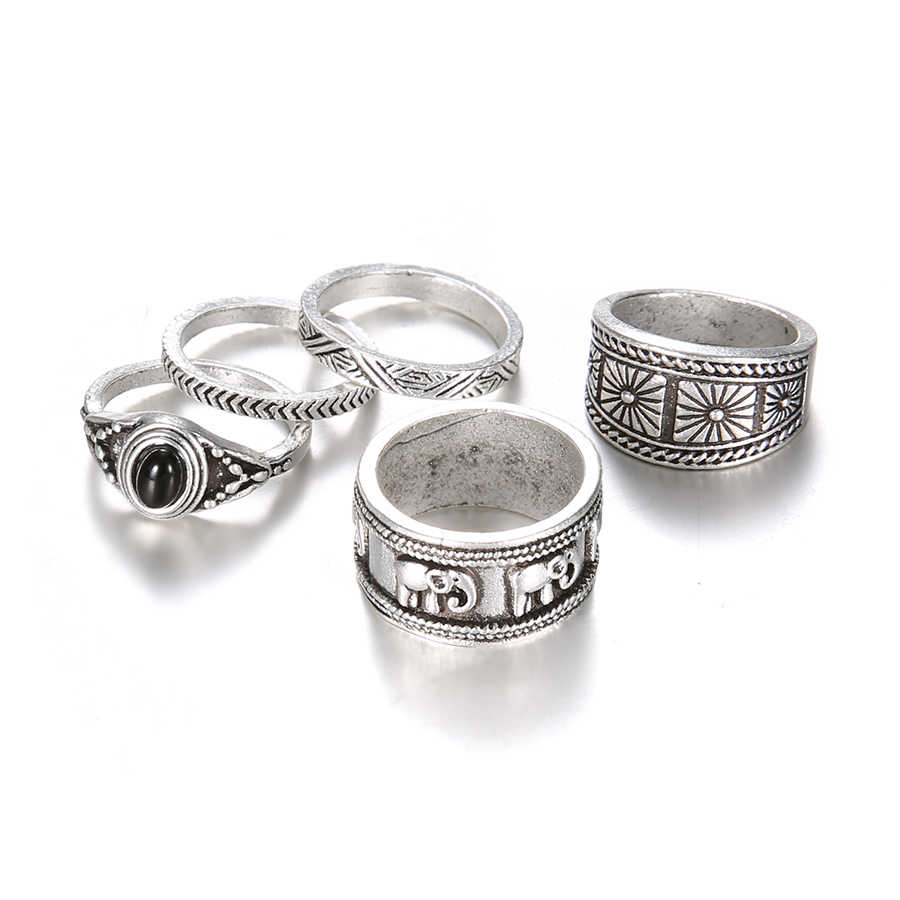 Judeu Chegada Nova Vintage anéis 5 pcs definir anéis midi oco para fora padrão decorativo Boemia conjuntos de jóias de cor prata