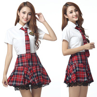 Japanese Girls School Uniform Cosplay Classic Plaid Pleated Skirt Lace Decoration Dress Short Sleeve Uniform Set