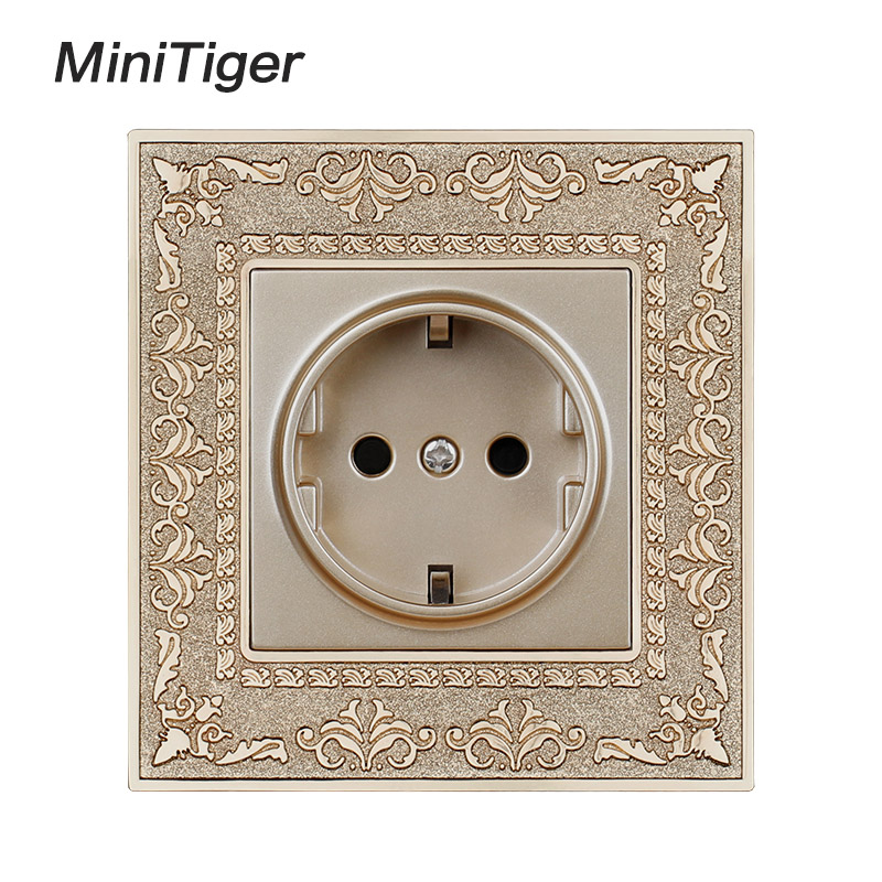 Minitiger 16A EU Standard Gold Power Socket 4D Embossing Retro Zinc Alloy Panel Wall Power Socket AC 110~250V