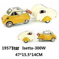 1957 année Isetta 300 W Oeuf voiture Avec remorque jaune Moulé Sous Pression de voiture en métal à la main artisanat pour décor collection cadeau 1:12 modèle de voiture jouet