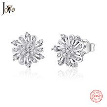 JOVO sterling 925 silver  women flower earrings jewelry zircon plant petal lady personality Fine Jewelry for female gift
