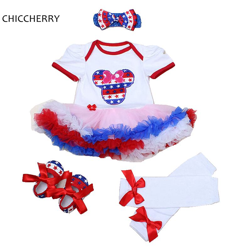 Minnie Applique Baby Girl Clothes 4th of July Outfits American Flag Newborn Tutu Set Roupa Bebe Headband Toddler Lace Dress