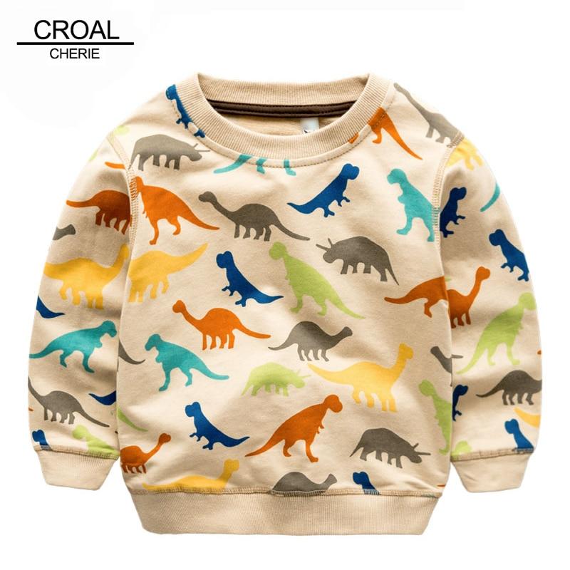 80-140cm Colorful Kid Dinosaur Infant Girls Sweatshirts Kids Boys Hoodies Animal Long Sleeve Cotton Children Boys T-shirt