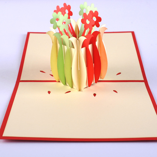 Qubiclife cube life 3D vase Thanksgiving three-dimensional greeting card handmade creative card a three dimensional embroidery of flowers trees and fruits chinese embroidery handmade art design book