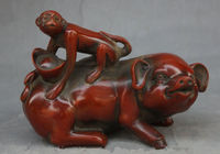 Exquisite Interesting China decorative artificial resin animal zodiac of pig monkey sculpture