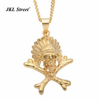 JKL Stainless Steel Gold Native Indian Tribe Chief Head Pendant Necklace Gothic Skeleton Pirate Cross Bones