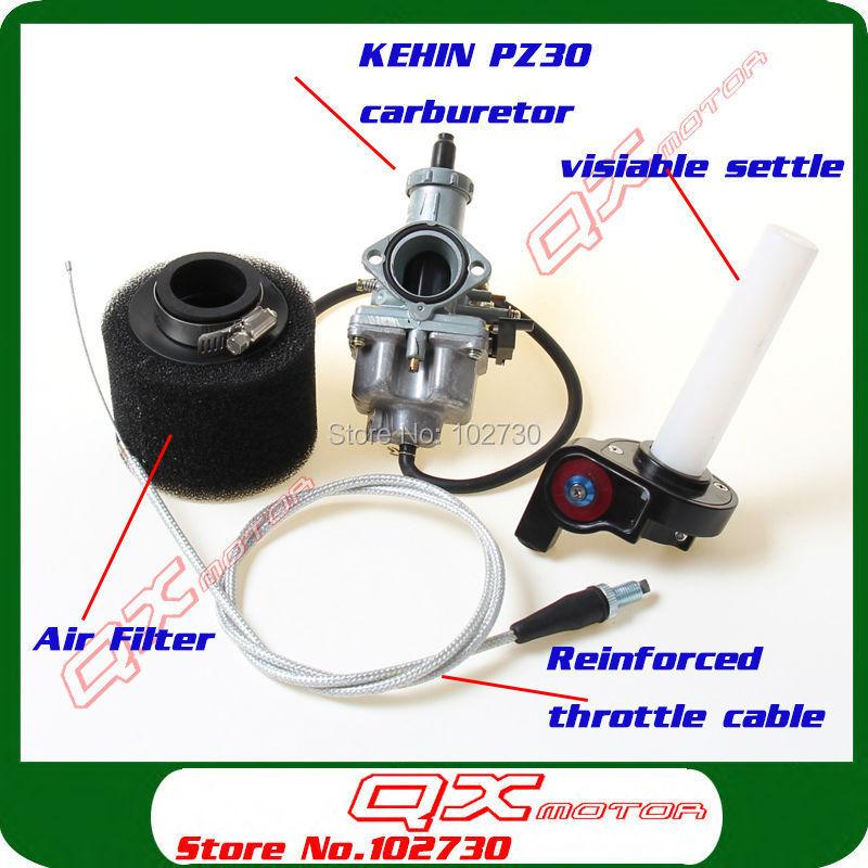 KEIHIN 30mm PZ30 Carburetor Visiable Transparent Throttle Settle Cable irbis Air Filter set