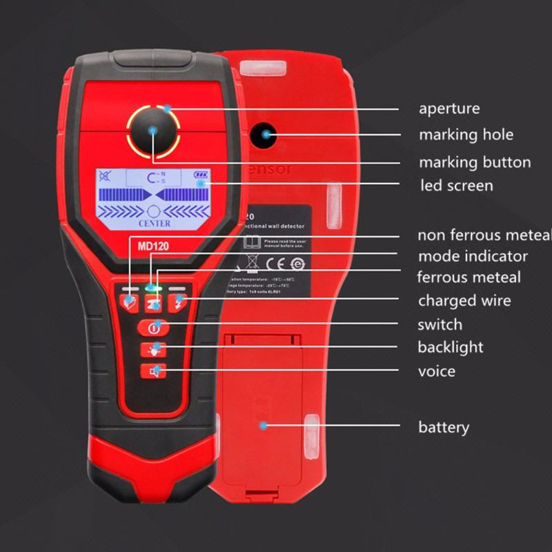 Professional MD120 Wall Metal Detector Wood live wire Detector Accurate Wall Scanner for Hydropower Installation Diagnostic Tool uni t ut387b digital wall scanner detector ac wire metal dedector wood testing 80m 100% brand new