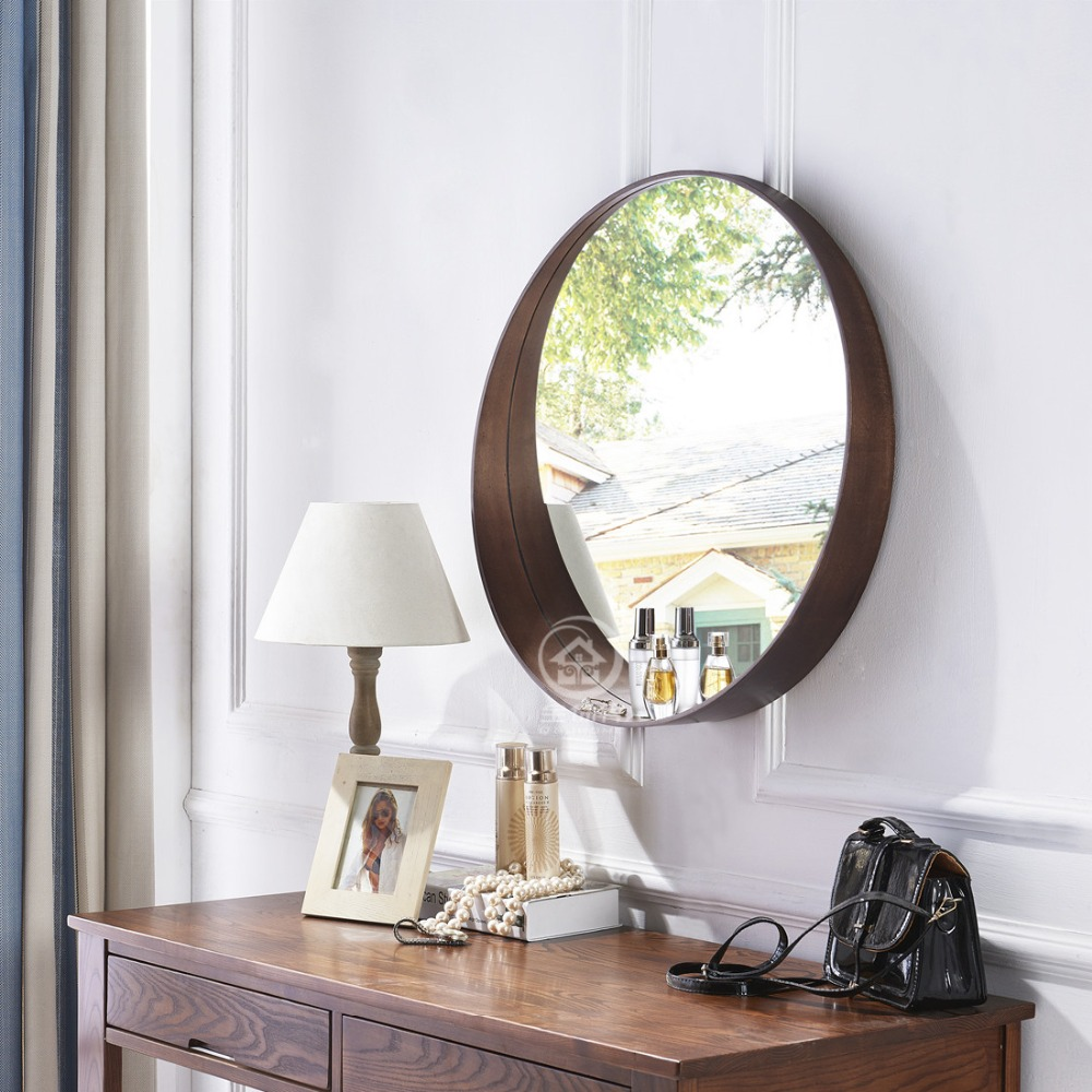 Decorative Mirror Table Us 171 08 9 Off Simple Round Wall Mirror Glass Console Makeup Vanity Mirror Wall Decorative Mirrored Art Bathroom Mirror In Decorative Mirrors From