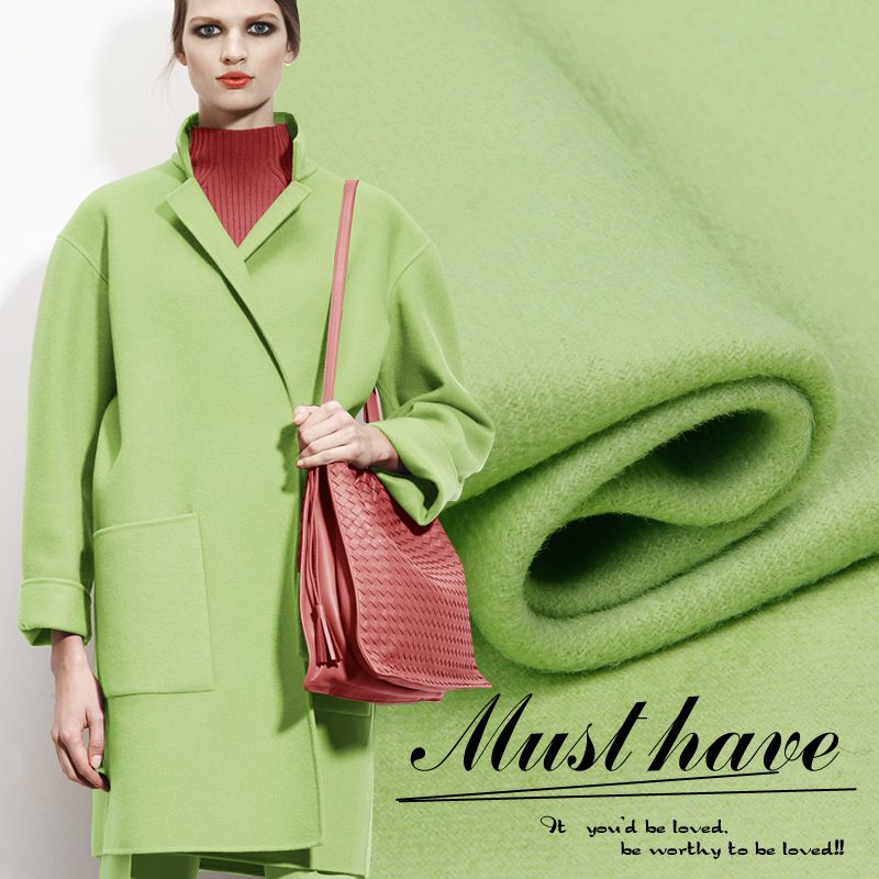 New Arrival Senoir Double Face Tea Green Thick Wool Fabric for Fall and Winter Overcoat ClothesNew Arrival Senoir Double Face Tea Green Thick Wool Fabric for Fall and Winter Overcoat Clothes