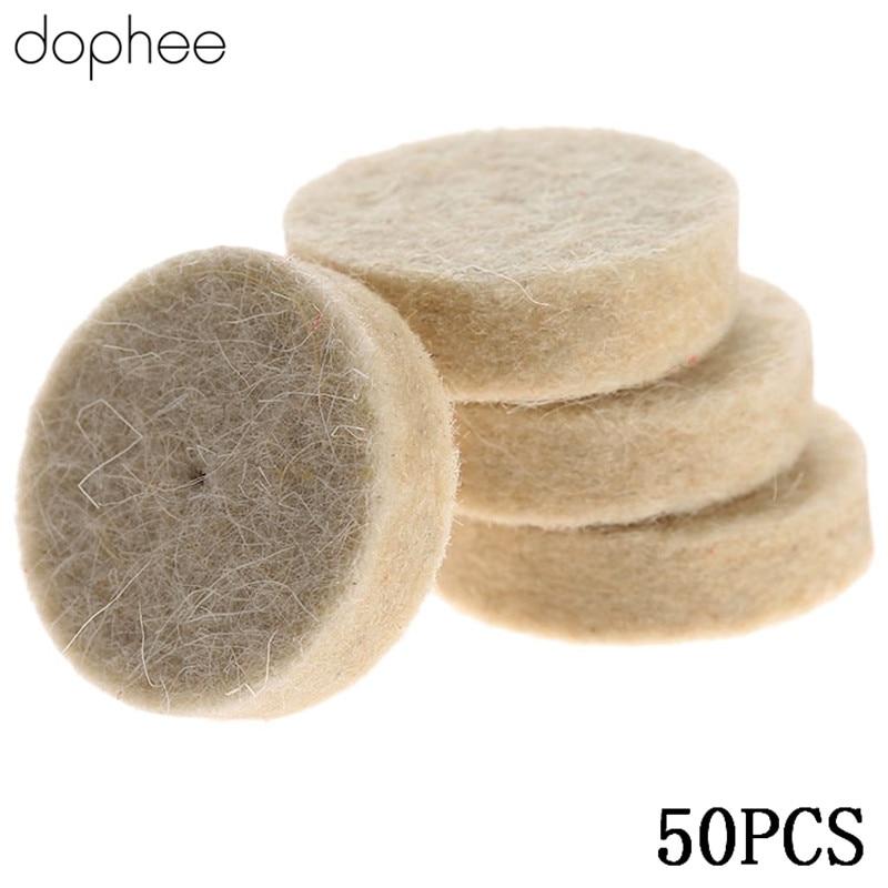 Dophee Dremel Accessories Wool Felt Polishing Buffing Wheel Grinding Polishing Pad+2Pcs 3.2mm Shanks For Dremel Tool 50Pcs 25mm
